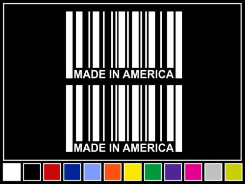 "2 4.25/"" MADE IN AMERICA Barcode Decals *14 COLORS* Stickers USA"