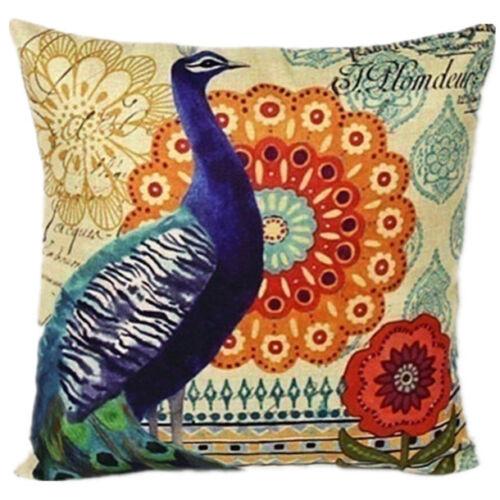Butterfly & Peacock & Chicken Pillow Case Linen Sofa Cushion Cover Home Decor
