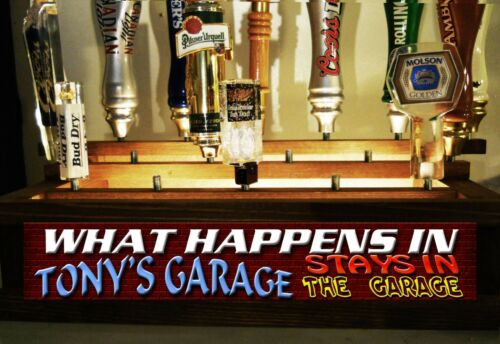 COLOR LED/'S PERSONAL GARAGE 18 TAP HANDLE DISPLAY W BUILT IN LIGHTED BAR SIGN