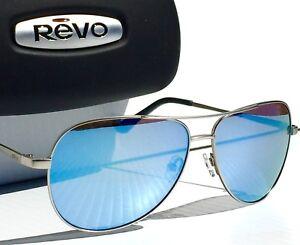 94bdbbefc1 NEW  REVO JOHNSTON Gunmetal Aviator w POLARIZED Blue lens Sunglass ...