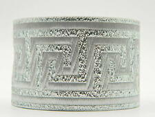 Jacquard Woven Ribbon/Trim Greek Key Metallic Silver 2'' width Per Yard