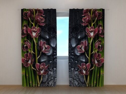Curtain Wine Colored Orchid Wellmira Custom Made Window Printed 3D Floral Motif