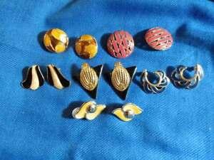 Vintage-Earrings-Gold-tone-Enamel-Silver-Tone-1970-039-s-1990-039-s