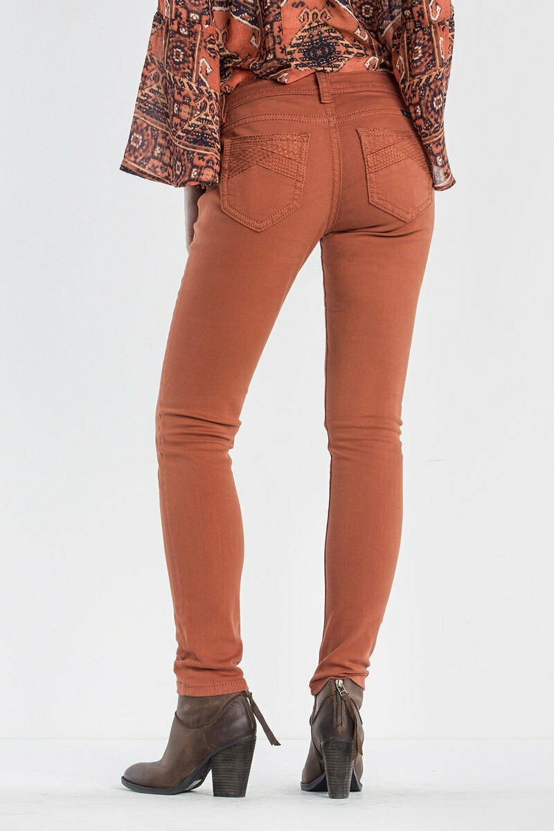 MISS ME SIZE 34 (17 18) NEW FLAME MID RISE SKINNY JEANS MP9044S BURNT-orange