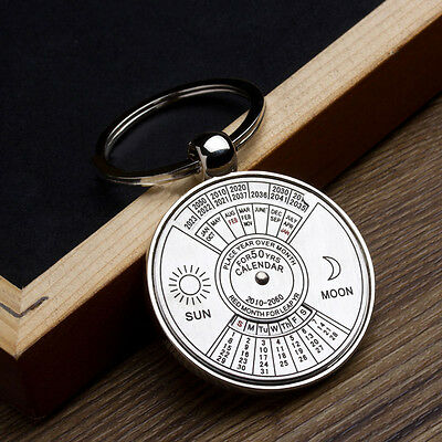 Mini 50 Years Perpetual Calendar Keychain Key Chain Ring Unique Metal Keyring