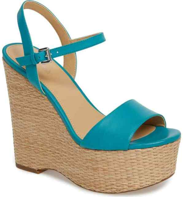 afbfc75d5a4 Michael Kors Fisher Leather Wadge Sandals Color Turquoise Size 8m US ...