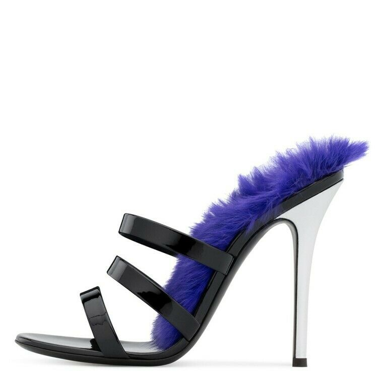 Sexy Sexy Sexy Womens strappy stiletto high heels party sandals Real leather Fur shoes New 4da821