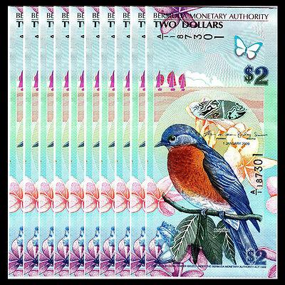 banknotes Lot 10 PCS 2012 2009 Bermuda 2 Dollars P-57b UNC