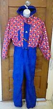 VTG Obermeyer Onesie Snow Ski Suit Juniors SZ 18 Blue Red Floral Free Shipping!