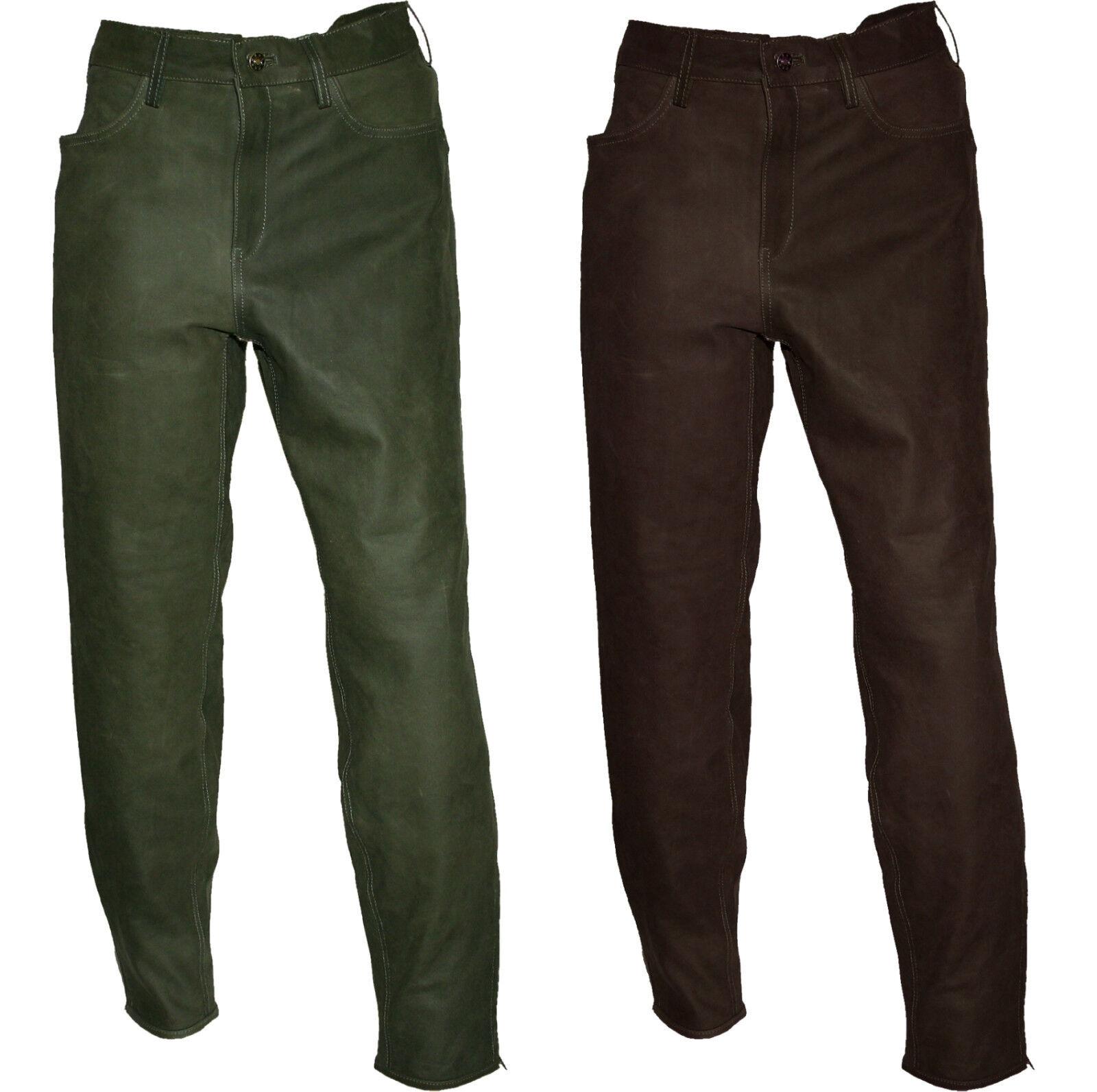 Stiefelhose Lederhose Jagdhose Outdoorhose Lederstiefelhose  oliv + brown