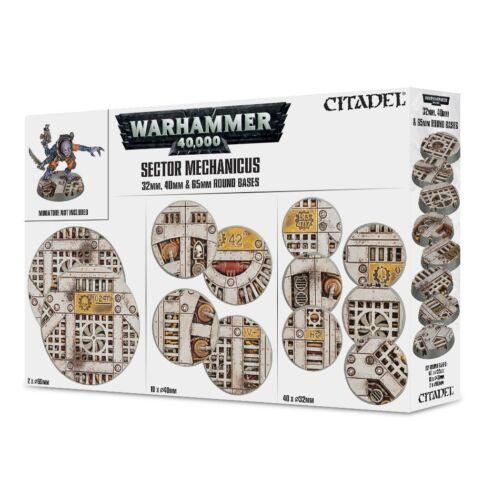 /& 65mm Warhammer 40K NIB Flipside Sector Mechanicus Industrial Bases 32mm 40mm