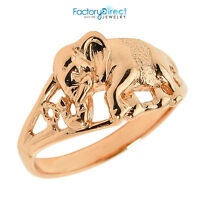 Solid 14k Rose Gold Openwork Elephant Ring