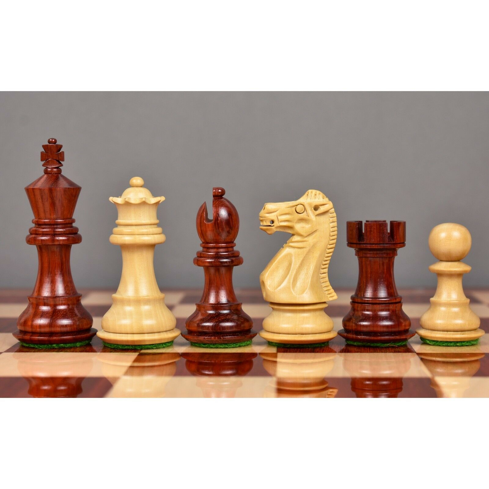 3.1  Pro Staunton Luxury Chess Pieces Only set - Double Weighted Bud pink Wood