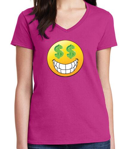 1101C Dollar Face Emoji Ladies V Neck T-shirt Cool Money Eyes and Smile Tee