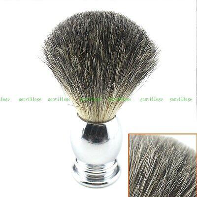 Pure Badger Hair Shaving Brush Stainless Steel Handle Barber Razor Salon Tool