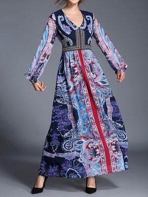 Maxikleid Patchwork Optik Gr 34 blau bunt Georgette-Kleid langes Kleid