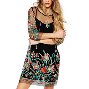 2-Pcs-Set-Womens-Boho-Vintage-Mesh-Sheer-Embroidered-Floral-Party-Mini-Dress