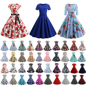 Women-50s-60s-Rockabilly-Dress-Pinup-Party-Evening-Prom-Gown-Swing-Vintage-Dress