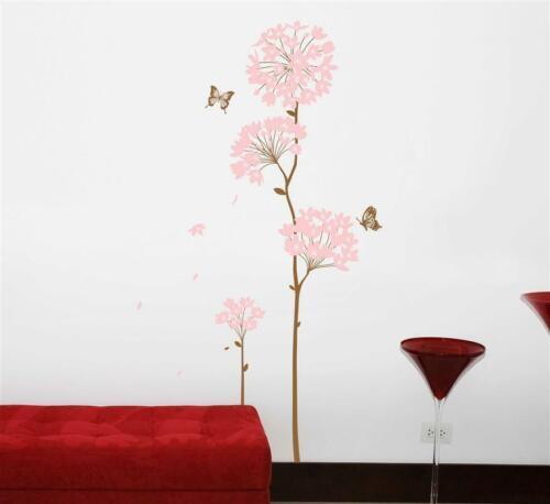 Wandtattoo Wandaufkleber Wandposter Baum Schmetterlinge Blüten Ast 180 x 90 W179