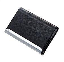 Black Pu Leather Pocket Metal Business Id Credit Card Holder Case Wallet
