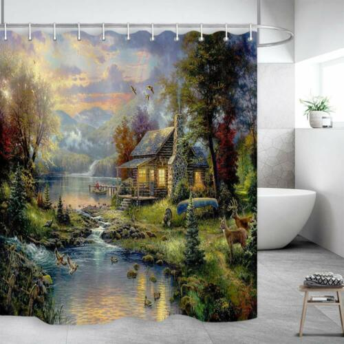 Fairytale Forest Landscape Fabric Shower Curtain with Non-slip Bath Rugs