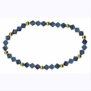 18K-or-Sur-925-Argent-amp-MINUIT-bleu-Swarovski-Elements-Extensible-bracelet