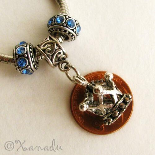 Princess Crown Charm And Crystal Birthstone Beads For European Charm Bracelets