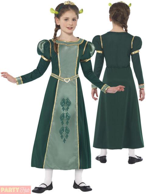 Childrens Shrek Princess Fiona Costume Licensed Book Week Fancy Dress Age 4-12
