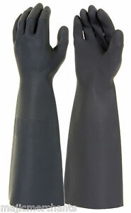 """Black Latex Gauntlets 18/"""" Gloves Industrial Long Sleeve Natural Rubber PPE CAT3"""