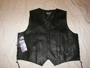 Biker's Club Black Leather Vest - Size 56 - New with Tags - Buffalo Side Laced