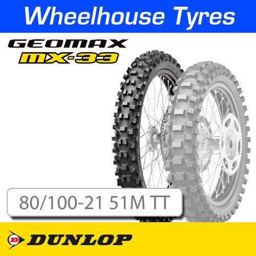 Dunlop Geomax MX33 Soft-Med 80//100-21 51M T//T NHS