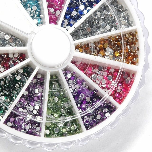 3000 12 colored 2mm round diamond nail jewelry, disc packaging