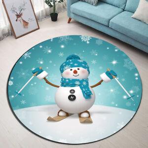 Round Floor Mat Skiing Snowman Christmas Snowflake Bedroom ...
