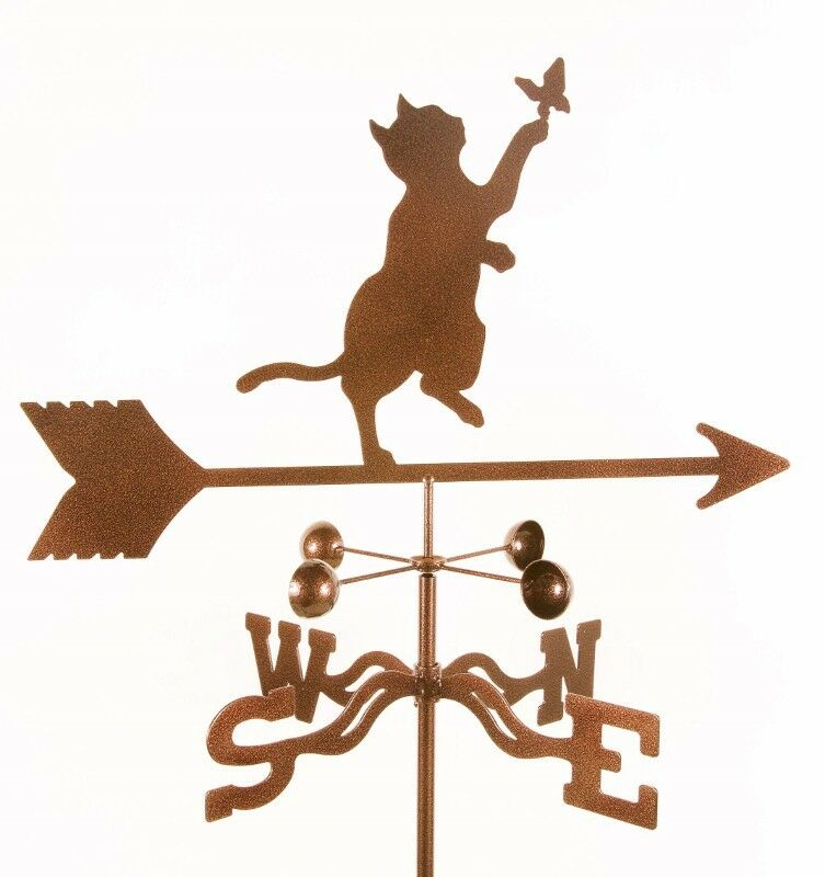 Cat and Butterfly Weathervane, Vane - Kitten, Kitty, Complete w/ Choice of Mount