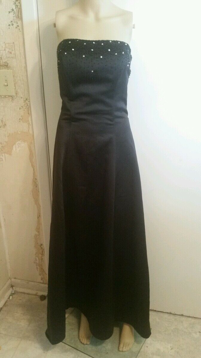 Forever Yours Formal Dress Size 6 black strapless floor length beads