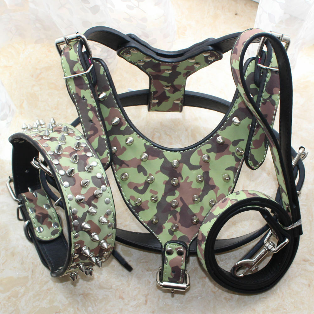 Camouflage Spiked Studded Leather Dog Harness Collar Leash for Pit Bull 26 -34