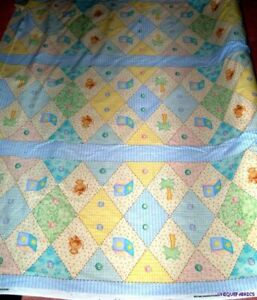VTG-2001-OOP-Bedtime-Original-Baby-Jungle-GinghamNursery-Print-Bumper-Ctn-Fabric