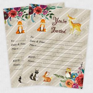 20 woodland baby shower invitations girl boy owl forest deer