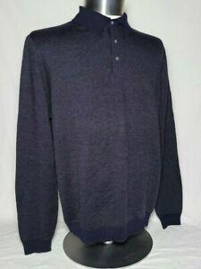 BROOKS-BROTHERS-346-Fine-Italian-Merino-Wool-Lightweight-Poly-Sweater-Navy-Sz-L