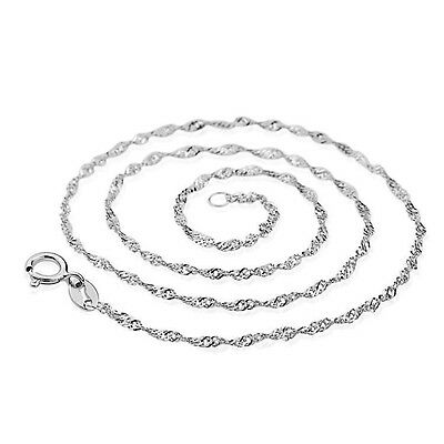 925 Sterling Silver 1.5mm Twisted Singapore Chain Necklace Findings DIY All Size