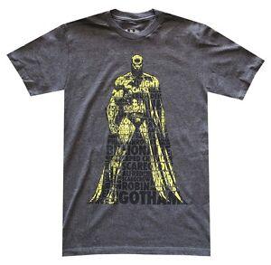 DC-Comics-Batman-Verbiage-Charcoal-Heather-Men-039-s-T-Shirt-New