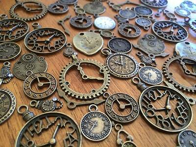 1-100 Bronze Clock Charms for Craft & Scrapbooking