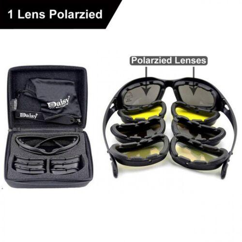 Daisy C5 Polarized Army Goggles Military Sunglasses 4 Lens Kit Mens Desert