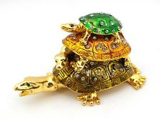 Triple Turtle Jewelry Trinket Box Bejeweled Gold Tortoise Decorative Collectible
