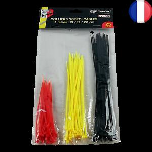 Lot 750 X Colliers Serre Câble Attache Corde Boucle en Nylon Fil 10 15 et 20 cm