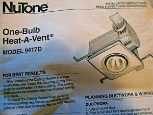NUTONE 9417D One Bulb Heat A Vent Bathroom Fan | eBay