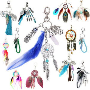 Dream-Catcher-Feather-Keyring-Pendant-Purse-Bag-Key-Ring-Chain-Car-Keychain-Gift