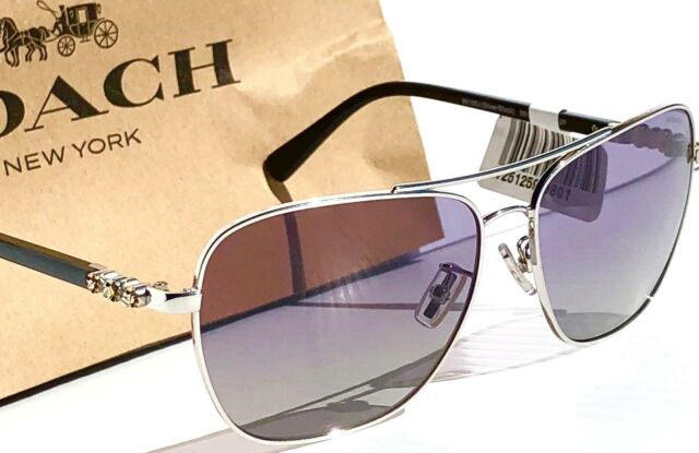 3d56eac038c NEW  COACH POLARIZED Silver Jewel 59mm Aviator Squared Women s Sunglass  L1637