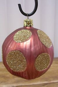 Copper Colored Gold Glitter Glass Ball Christmas Ornament ...
