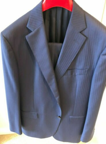 Suit Supply Napoli Mid Blue Herringbone Suit pre o